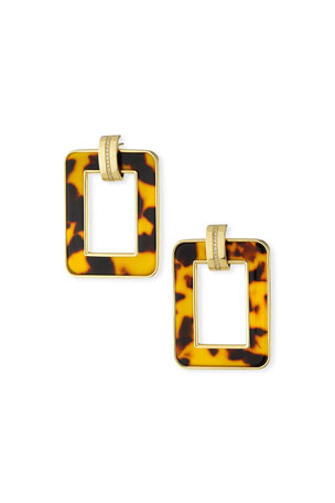 Miseno 18k Leopard-Print Rectangular Earrings w/ Diamonds