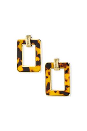 Miseno 18k Leopard-Print Rectangular Earrings w/ Diamonds