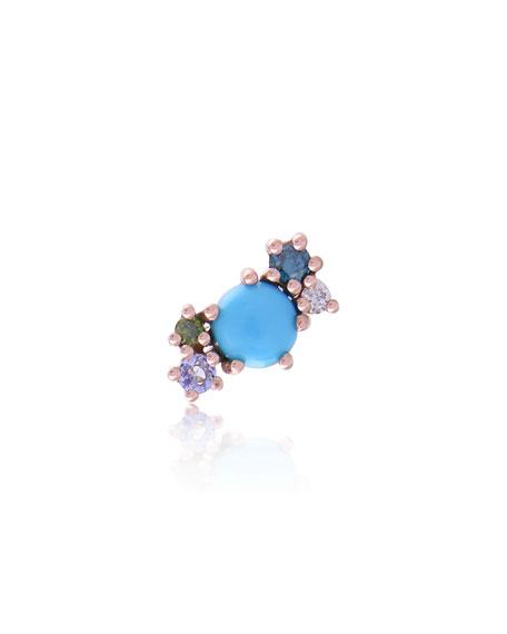 Stevie Wren 14k Rose Gold Turquoise & Diamond Mini Cluster Ear Climber, Left