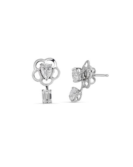 ZYDO Hope 18k White Gold Mixed-Cut 4-Diamond Earring Jackets