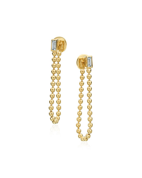 Maria Canale 18k Bead Chain & Diamond Earrings