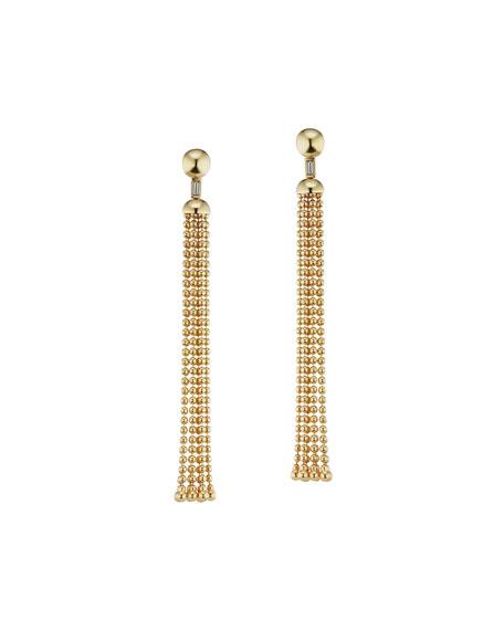 Maria Canale 18k Flapper Ball-Chain Tassel Earrings w/ Diamonds