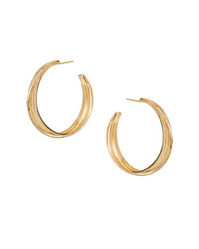 14k Triple-Hoop Earrings w/ Diamonds