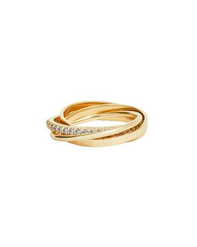 14k Gold Triple-Band Ring w/ Diamonds  Size 7
