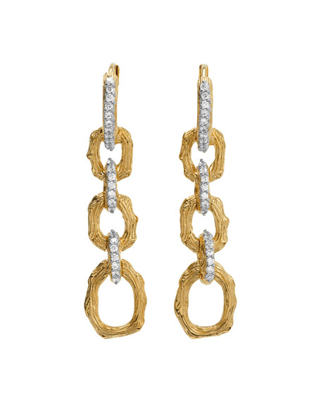 Image 1 of 2: Michael Aram Enchanted Forest Twig Link Two-Tone Earrings w/ Diamonds