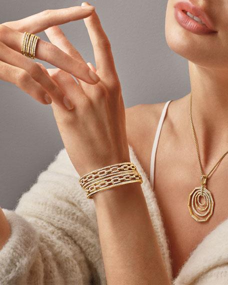 David Yurman Stax 18k Gold Diamond Multi-Row Ring, Size 7