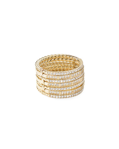 Stax 18k Gold Diamond Multi-Row Ring  Size 7