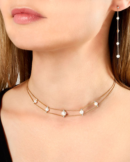 Image 2 of 2: Yoko London 18k Pearl & Diamond 2-Row Necklace