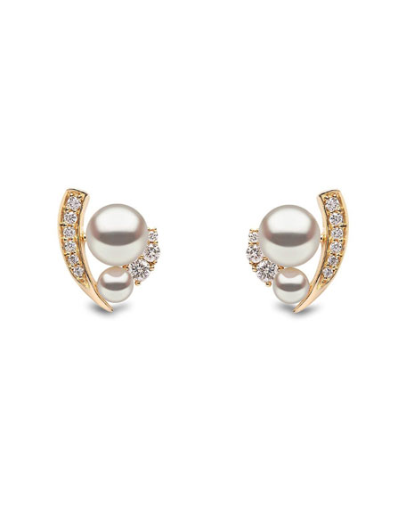 Image 1 of 2: 18k Double-Pearl & Diamond-Accent Earrings