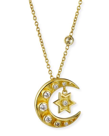 Legend Amrapali 18k Heritage Mini Diamond Star & Crescent Necklace