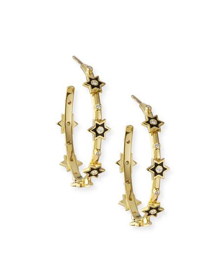 Legend Amrapali 18k Mini Enamel 6-Star Hoop Earrings w/ Diamonds