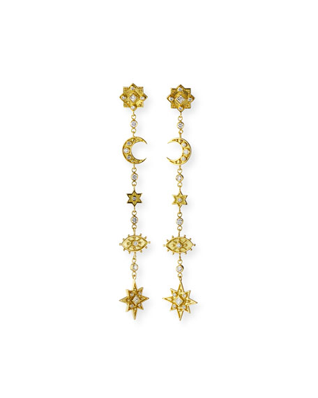 Legend Amrapali 18k Heritage Mystic Linear Earrings w/ Diamonds