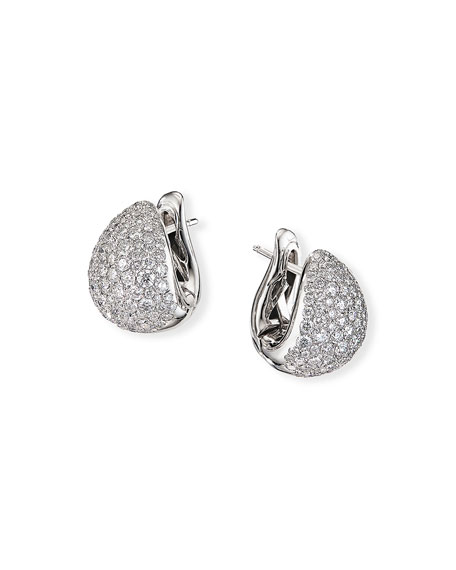 David Yurman Pave 18k White Gold Diamond Pear Huggie Earrings