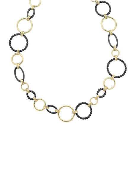 LAGOS 18k Gold Caviar Link Necklace w/ Black Ceramic