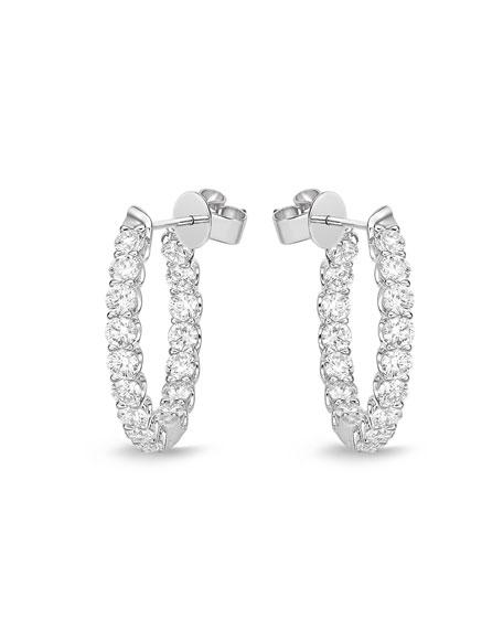 Memoire 18k White Gold Diamond U-Basket Hoop Earrings