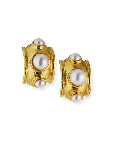 Elizabeth Locke 19k Medium Vertical Oval Pearl Earrings