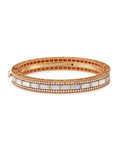 Art Deco 18k Rose Gold Mother-of-Pearl & Diamond Bangle
