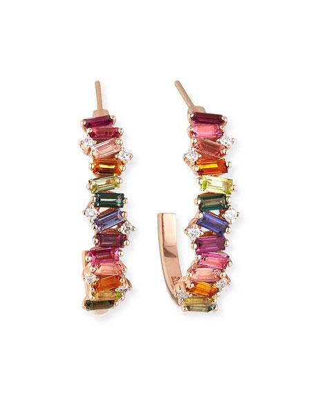 KALAN by Suzanne Kalan 14K Rose Gold Rainbow Half-Hoop Earrings w/ Diamonds