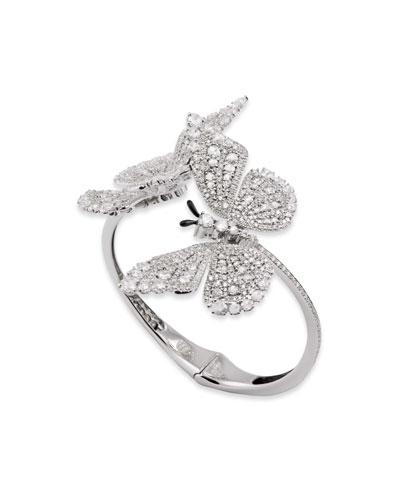 18k White Gold Diamond 2-Butterfly Bracelet