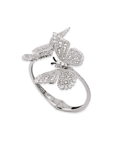 Staurino 18k White Gold Diamond 2-Butterfly Bracelet