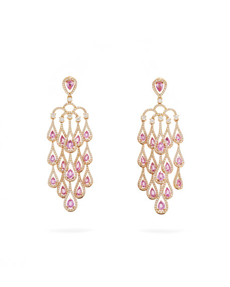 Image 1 of 2: 18k Rose Gold Pink Sapphire Chandelier Earrings