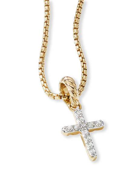 David Yurman Cable Collectibles 18k Diamond Cross Pendant