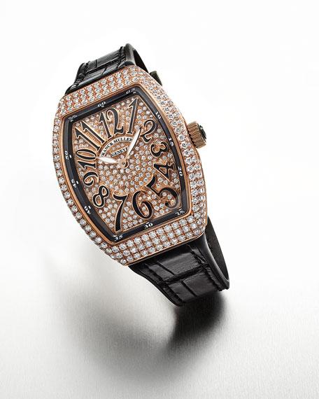 Franck Muller Vanguard All-Diamond Watch w/ Alligator Strap