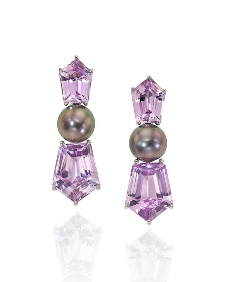 Assael Platinum Pearl Kunzite Clip Earrings
