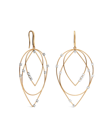 LANA Medium 3-Tier Diamond Hoop-Drop Earrings
