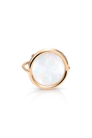 GINETTE NY Ever 18k Rose Gold Mother-of-Pearl Disc Ring, Size 7