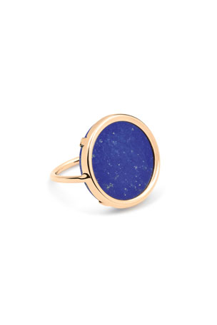 GINETTE NY Ever 18k Rose Gold Lapis Disc Ring, Size 7