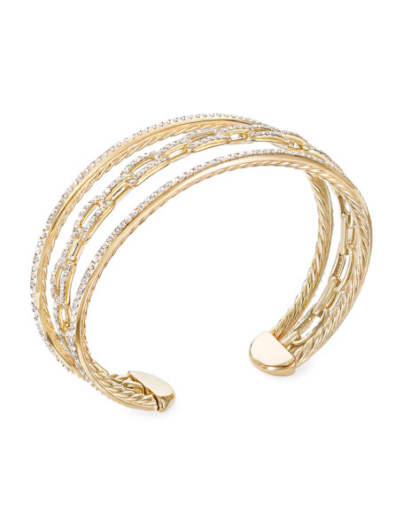 David Yurman Stax 18k Yellow Gold Diamond 3-Row Bracelet, Size S