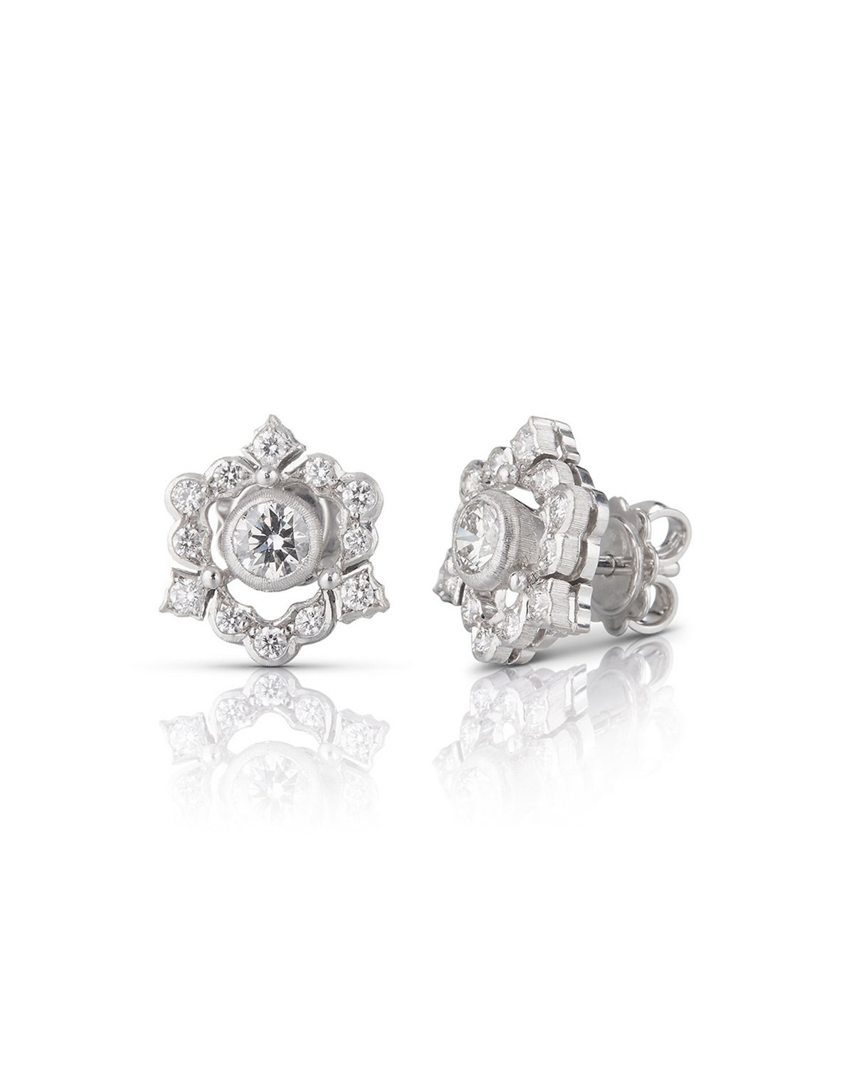 Buccellati 18k White Gold Mini Ghirlanda Button Earrings w/ Diamonds