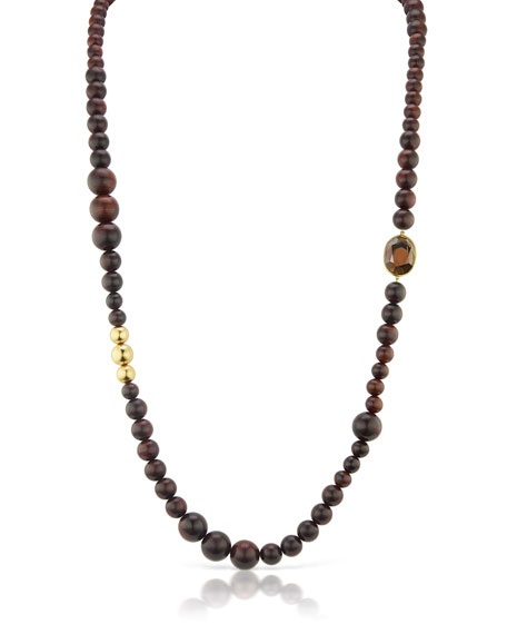 Maria Canale Long 18k Wood-Bead Smoky Topaz Necklace