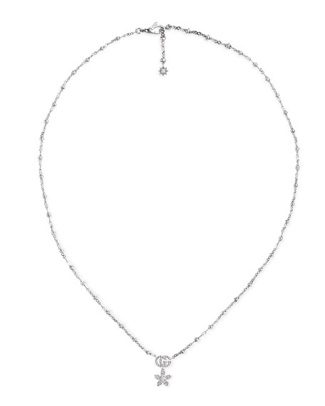 Gucci 18k White Gold Diamond Flower Necklace w/ Micro Pearls
