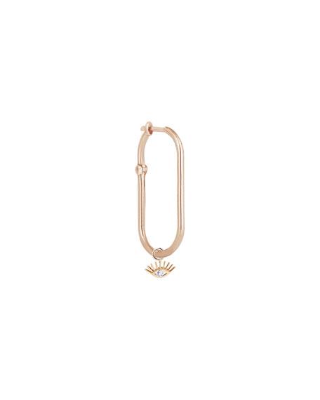 Kismet by Milka Rock'n Charm 14k Rose Gold Diamond Evil Eye Hook Earring, Single
