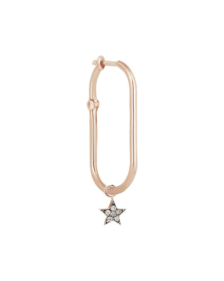 Kismet by Milka Rock'n Charm 14k Rose Gold Diamond Star Hook Earring, Single