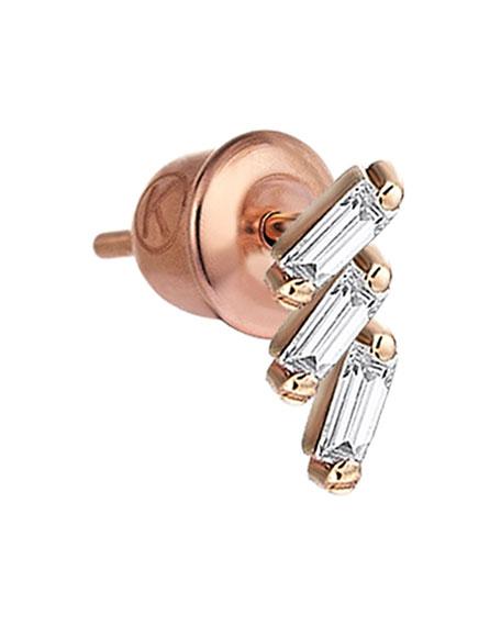 Kismet by Milka Baguette 14k Rose Gold Step 3-Diamond Earring, Single