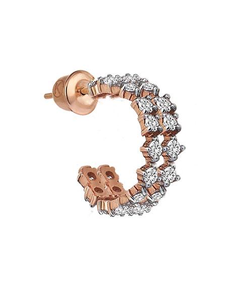Kismet by Milka Spring Lightbeam 14k Rose Gold 2-Row White Diamond Earring, Single