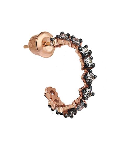 Kismet by Milka Spring Lightbeam 14k Rose Gold 1-Row Champagne Diamond Earring, Single