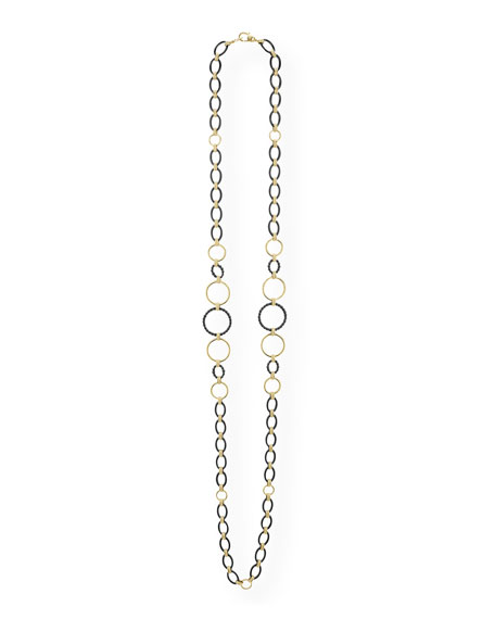 "Image 2 of 4: Lagos Gold & Black Caviar 2-Station Necklace, 36""L"