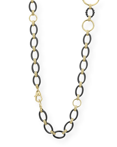 "Image 3 of 4: Lagos Gold & Black Caviar 2-Station Necklace, 36""L"
