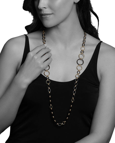 "Image 4 of 4: Lagos Gold & Black Caviar 2-Station Necklace, 36""L"