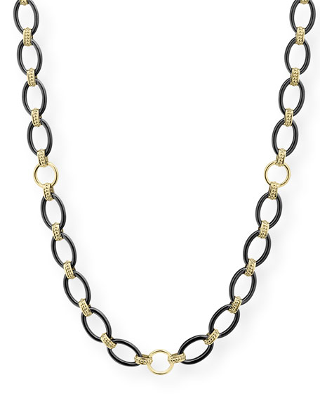 "Image 1 of 4: Lagos Gold & Black Caviar 2-Station Necklace, 36""L"