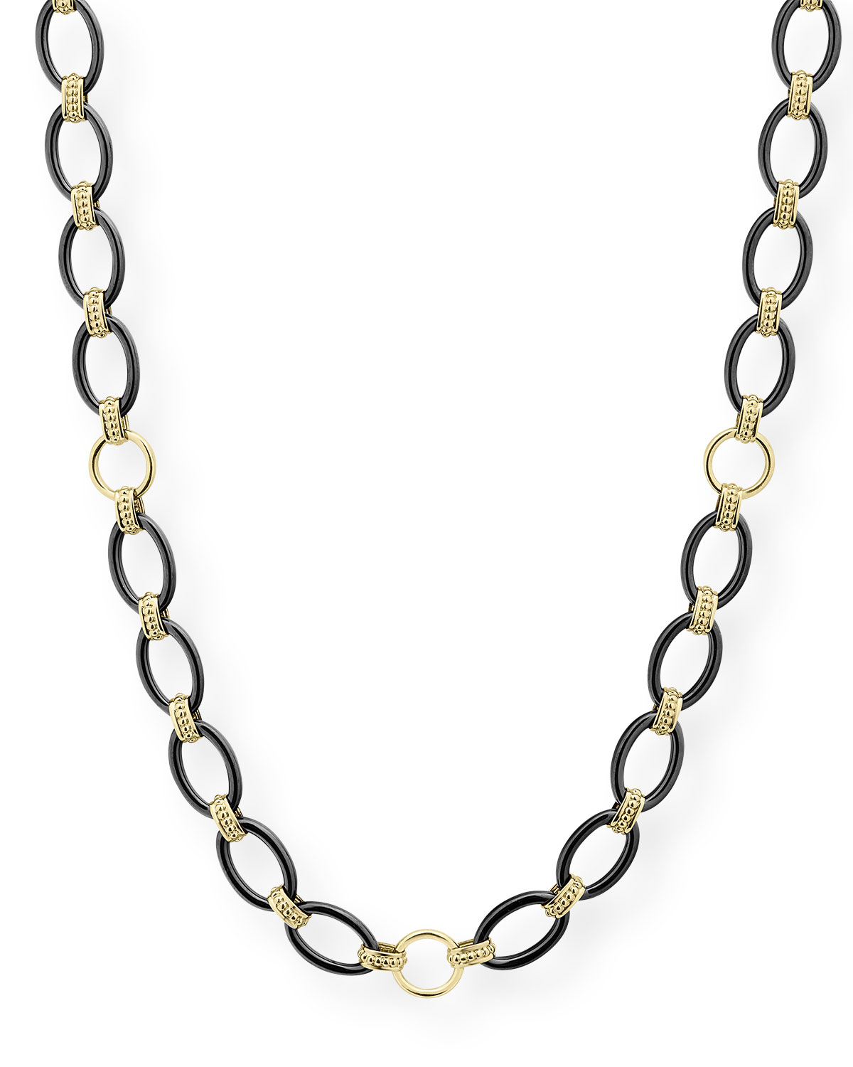 "Lagos Gold & Black Caviar 2-Station Necklace, 36""L"