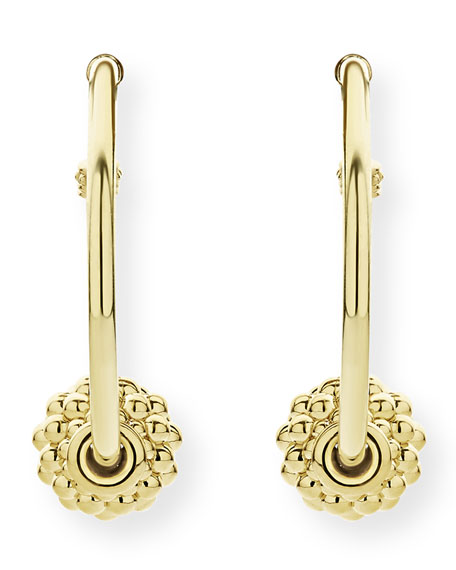 Image 2 of 4: Lagos Caviar 18k Gold Hoop Earrings, 30mm