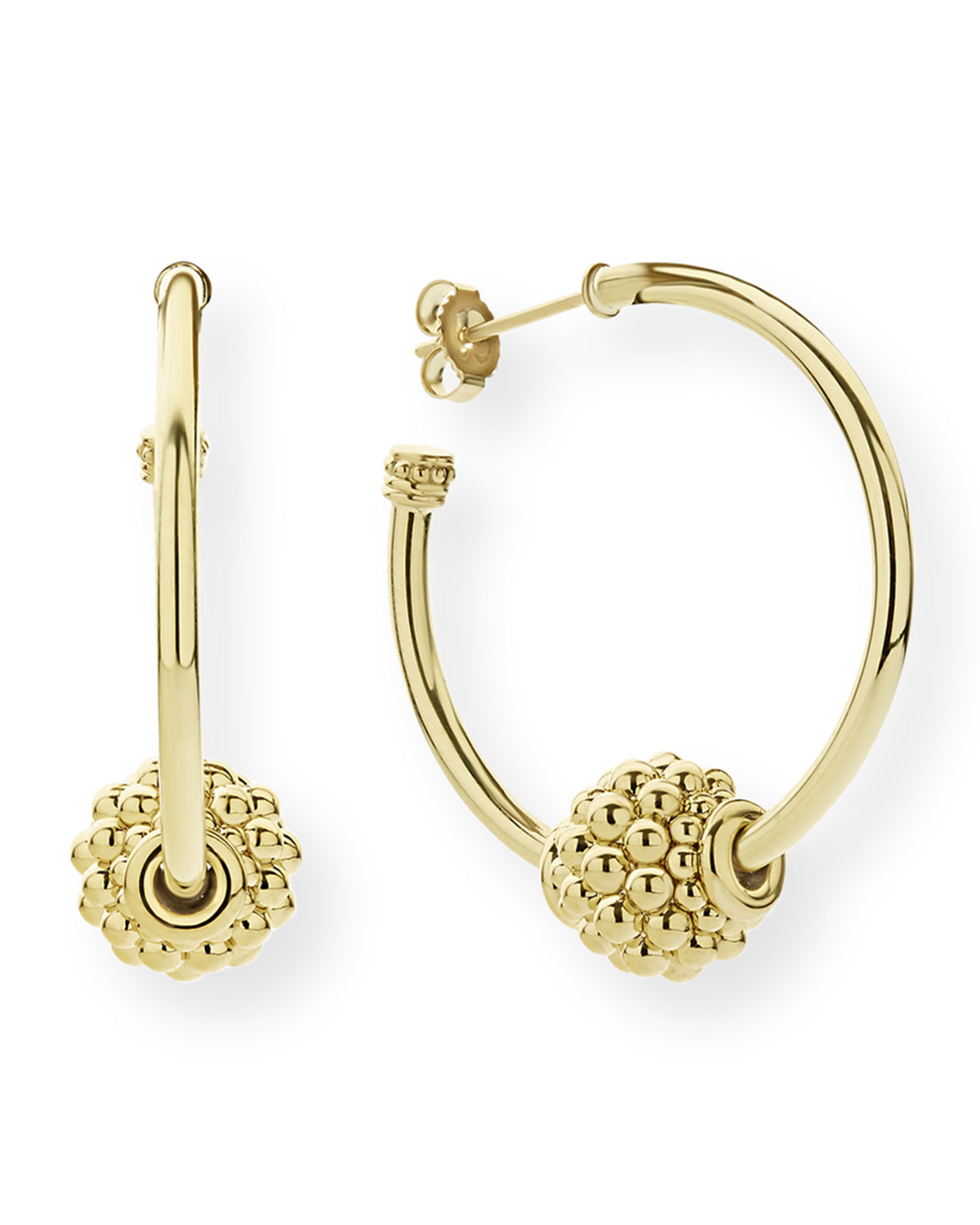 Lagos Caviar 18k Gold Hoop Earrings, 30mm