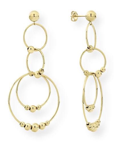 Caviar 18k Gold 4-Circle Drop Earrings