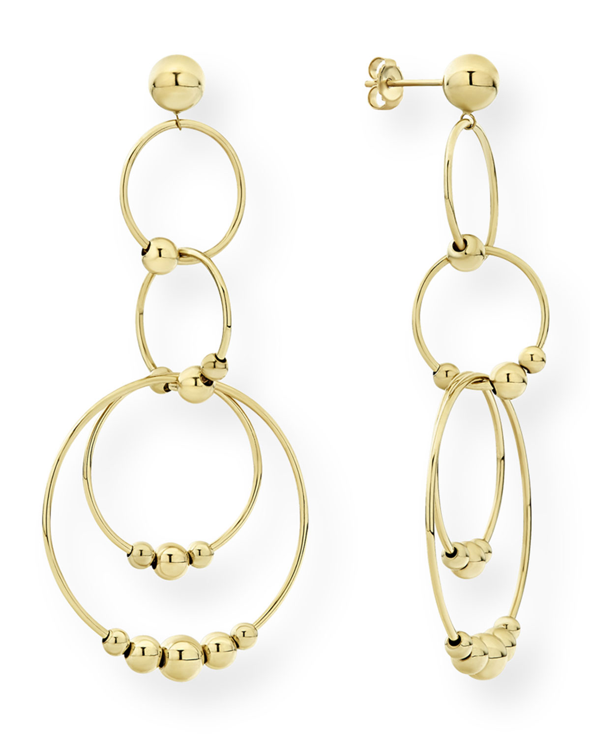 Lagos Caviar 18k Gold 4-Circle Drop Earrings