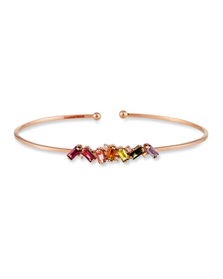 KALAN by Suzanne Kalan 14K Rose Gold Rainbow Zigzag Bangle w/ Diamonds, Size Medium
